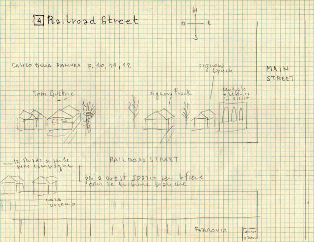 Disegni preparatori di Marco Denti: Railroad Stret